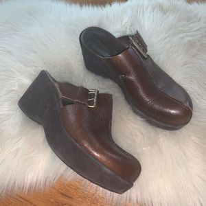 Kork-Ease Zamora brown leather suede clogs size 8